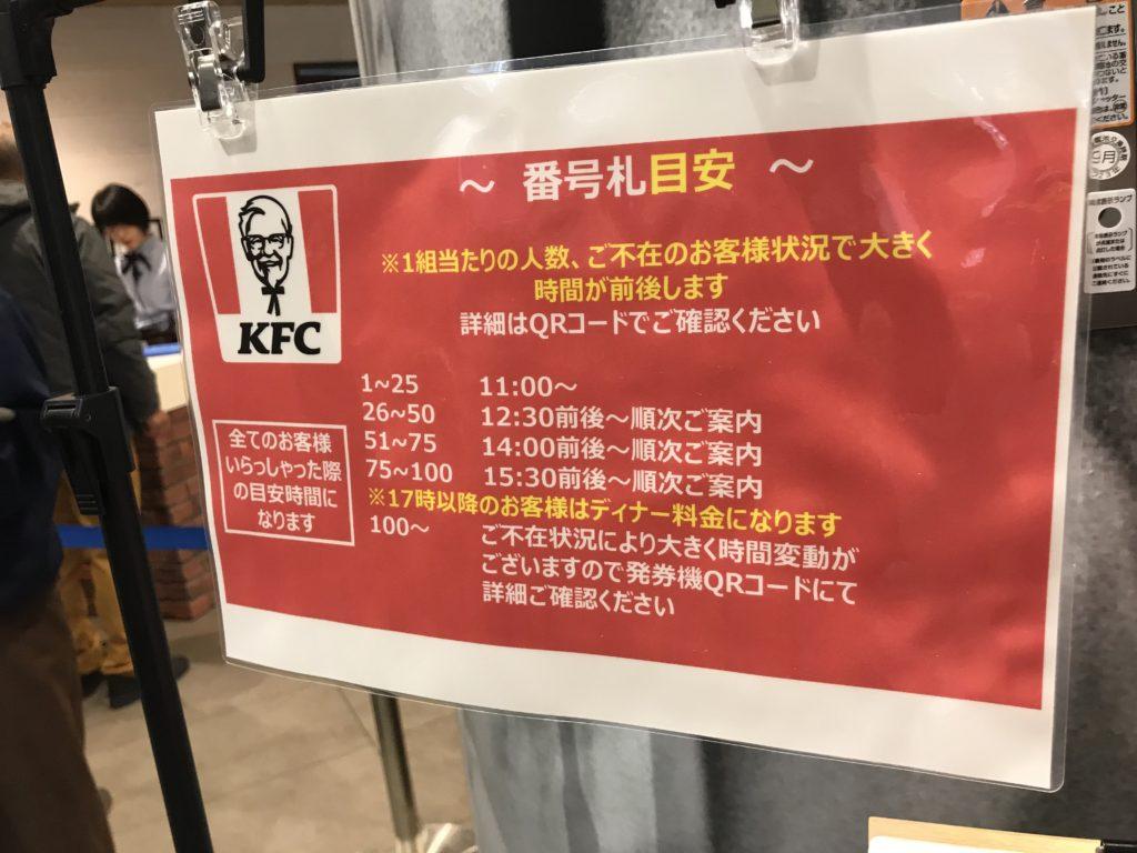 ケンタッキー 町田 グランベリーパークのケンタッキー 食べ放題を2000円台で!事前予約不可、整理券をもらってバイキング